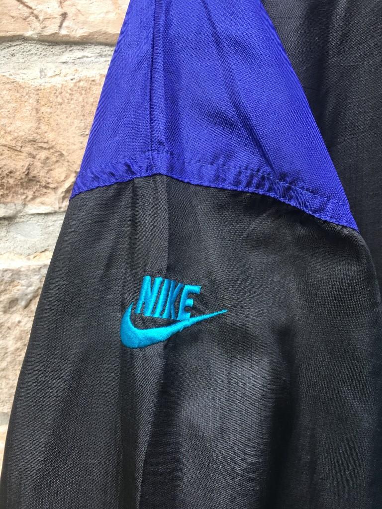7525eef1917d39 early 90 s vintage Nike flight windbreaker jacket size large black purple  aqua