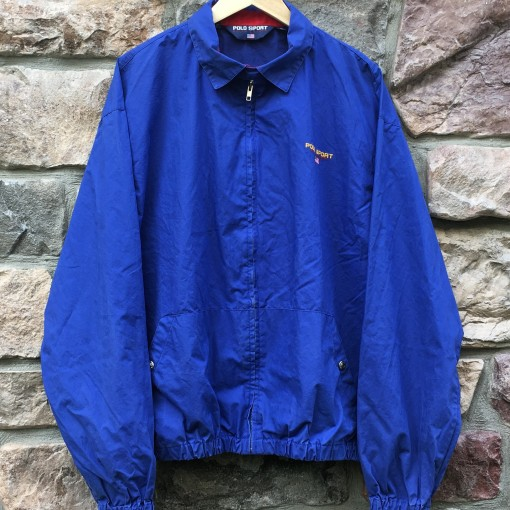 90's Polo Sport ralph lauren USA coaches jacket blue size xl royal