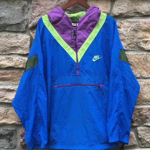 90's nike vintage windbreaker jacket blue purple neon green size large