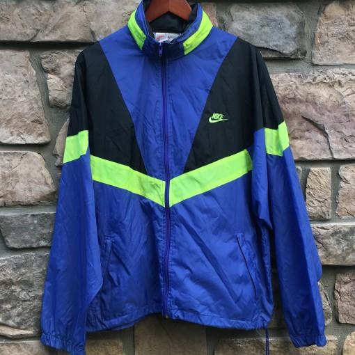 vintage early 90's nike purple black neon windbreaker jacket size large