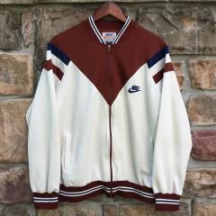 vintage 70's nike track jacket cream maroon navy size large