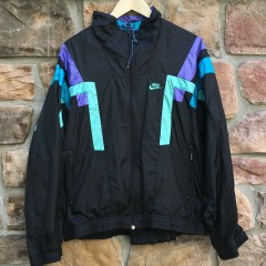 early 90's vintage nike track jacket suit size medium black purple aqua