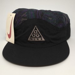 vintage 90's Nike ACQ 5 panel supreme style hat deadstock black purple