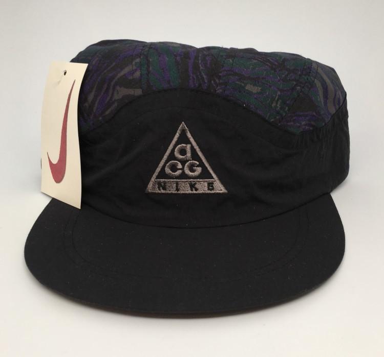vintage 90 s Nike ACQ 5 panel supreme style hat deadstock black purple de65d6645b5