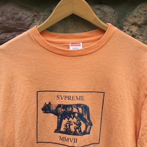 2007 Supreme New York Romulus Remus orange t shirt size large