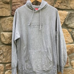 2010 Supreme New York Kaws box logo hooded sweatshirt hoody grey size Large