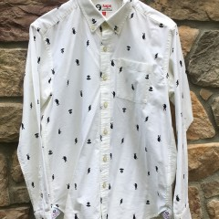 A bathing ape Bape AAPe oxford button up shirt white size large