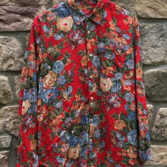 2014 Supreme New York Flowers Shirt Red Oxford button up size large
