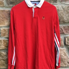 90's vintage Tommy Hilfiger long sleeve polo shirt size large red