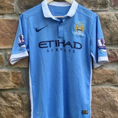 2015 Manchester City football club soccer jersey size small #16 ethiad airways powder blue
