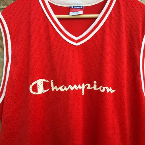 vintage 90's Champion mesh basketball tank jersey size 44 large red