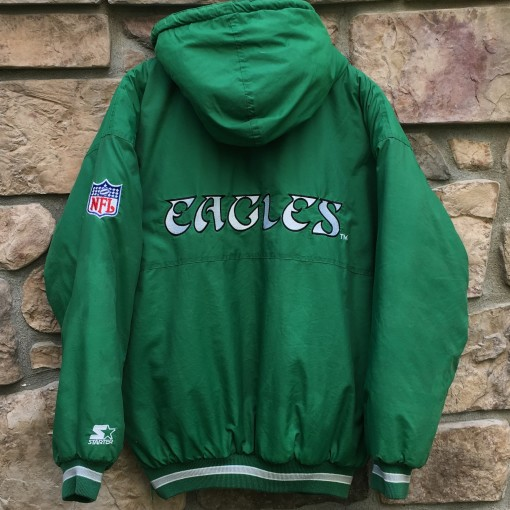 90's Philadelphia Eagles Starter NFL down winter jacket kelly green size large