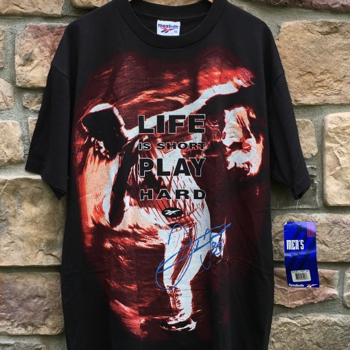 90'S Frank Thomas Reebok Life is short play hart t shirt size XL