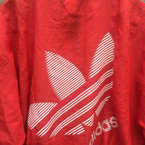 80's Adidas Trefoil Logo Windbreaker jacket size medium red white