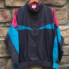 90s Adidas grey pink blue windbreaker jacket size medium