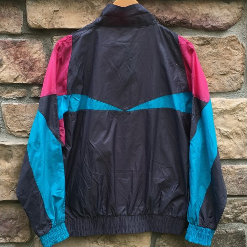 90s Adidas grey pink blue windbreaker jacket size medium