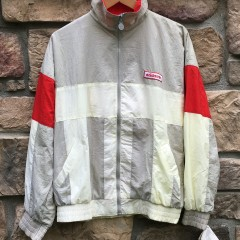 80's Adidas grey white red jacket size small