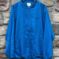 80s Adidas Trefoil windbreaker jacket blue black large XL deadstock