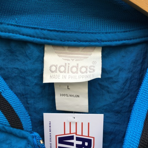 80s Adidas Trefoil windbreaker jacket blue black large XL deadstock