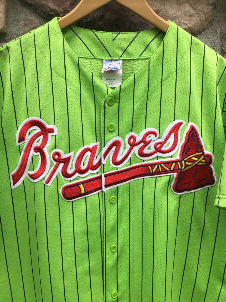 fa8a44832 90 s Atlanta Braves Lime Green Pinstripe Majestic MLB Jersey Size ...