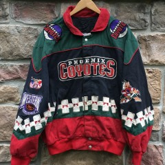 1996 Phoenix Coyotes Jeff Hamilton NHL racing Jacket size Large Kachina