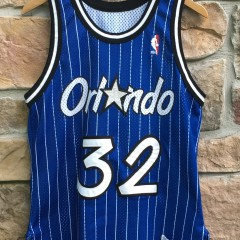 Vintage 90's Orlando Magic Shaq Champion blue pinstripe authentic jersey size 40 medium