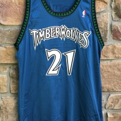 1997-98 Kevin Garnett Minnesota Timberwolves authentic pro cut team issued jersey size 48+4 Starter blue
