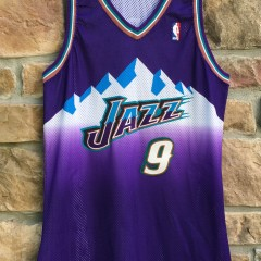 2000 2001 Pro Cut Team issued John Starks Utah Jazz Champion Authentic NBA Jersey size 46 +4 purple mountains