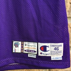 2000 2001 Pro Cut Team issued John Starks Utah Jazz Champion Authentic NBA Jersey size 46 +4 purple mountains