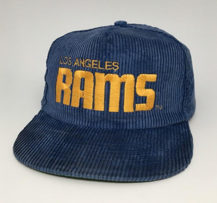 62c58673a 80 s Los Angeles Rams Corduroy NFL Snapback hat AJD blue
