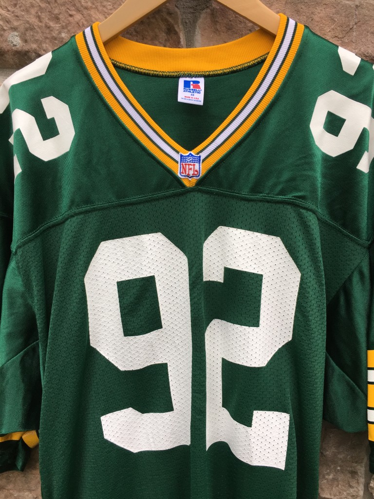 90 s Reggie White Green Bay Packers authentic Russell NFL jersey size 44  Large 1cbc88a19