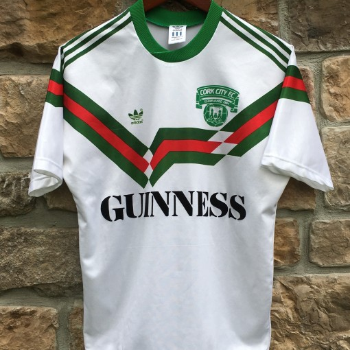 1989 Cork City FC vintage Adidas soccer jersey Guinness size Small