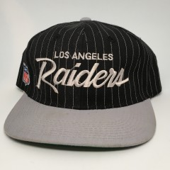 vintage 90's Los Angeles Raiders Sports Specialties script nfl snapaback hat pinstripe