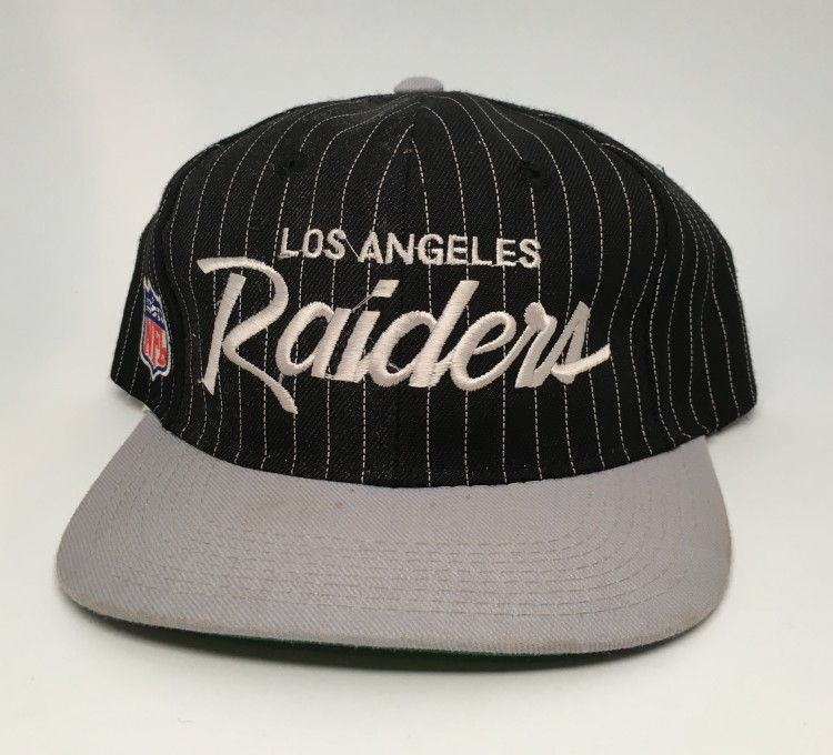 c79cc94be43 vintage 90 s Los Angeles Raiders Sports Specialties script nfl snapaback hat  pinstripe