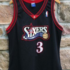 1998 Allen Iverson Philadelphia Sixers Authentic Champion NBA jersey size 44 large black mesh