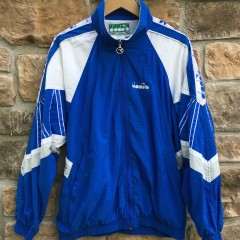Vintage late 80's Diadora full tracksuit size xl white blue
