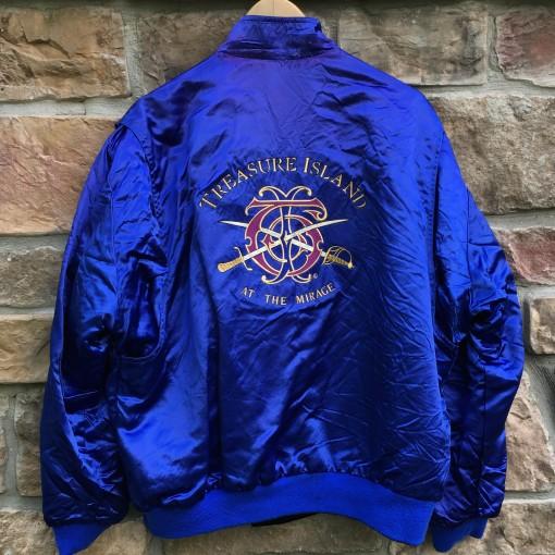 vintage 90's Mirage Treasure Island Las Vegas Reversible Satin Jacket size large