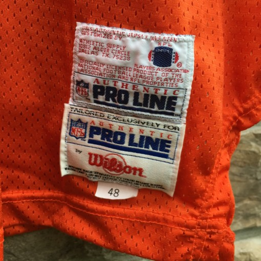 1994 Jason Elam Denver Broncos Authentic Pro Line Wilson NFL jersey size 48 orange crush 75th anniversary patch