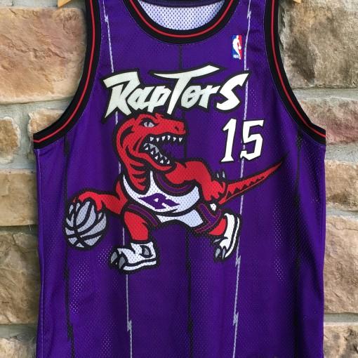 1998 Toronto Raptors Vince Carter Pro Cut Authentic Nike NBA Jersey size 48 XL purple dinosaur