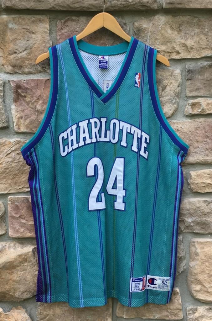 best cheap 27d24 2f75c 2000 Jamal Mashburn Charlotte Hornets Authentic Champion NBA Jersey Size 52