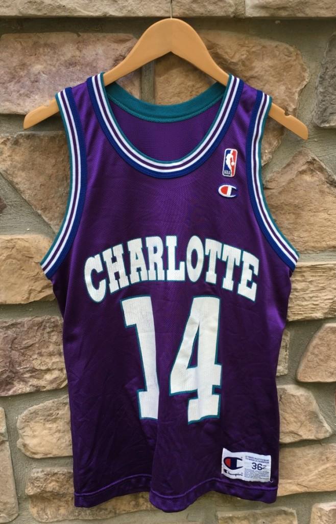 quality design 56c3b e10a6 1996 Anthony Mason Charlotte Hornets Champion NBA Jersey Size 36