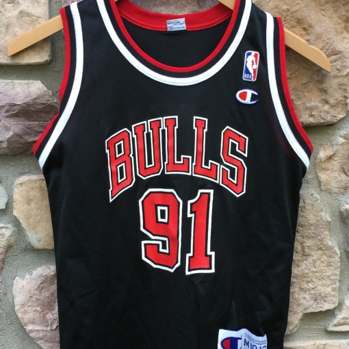 90's Dennis Rodman Chicago bulls champion NBA jersey black alternate youth size medium