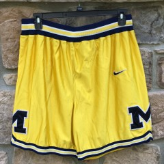 90's Authentic University of Michigan Wolverines Fab 5 Nike basketball shorts size 38 waist XL yellow