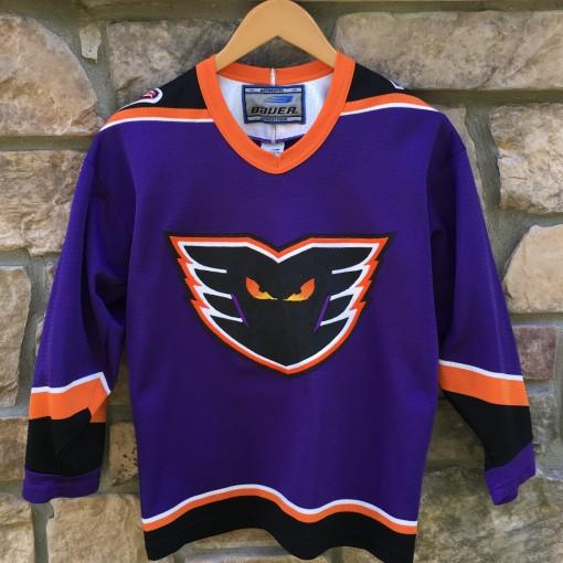 90's Philadelphia Phantoms Purple Bauer AHL jersey youth size XL