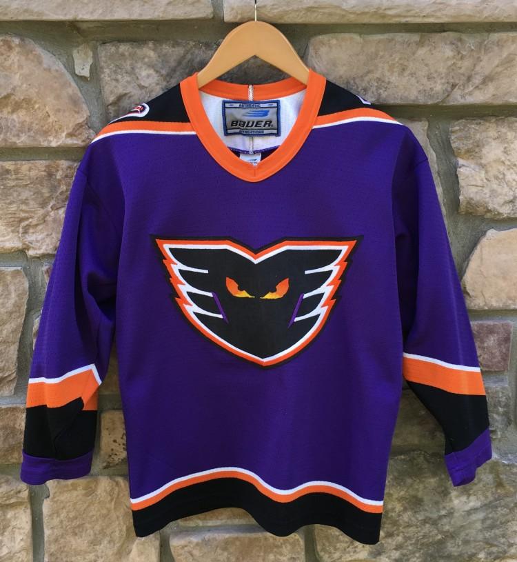 90 s Philadelphia Phantoms Purple Bauer AHL jersey youth size XL 2e270d1e2