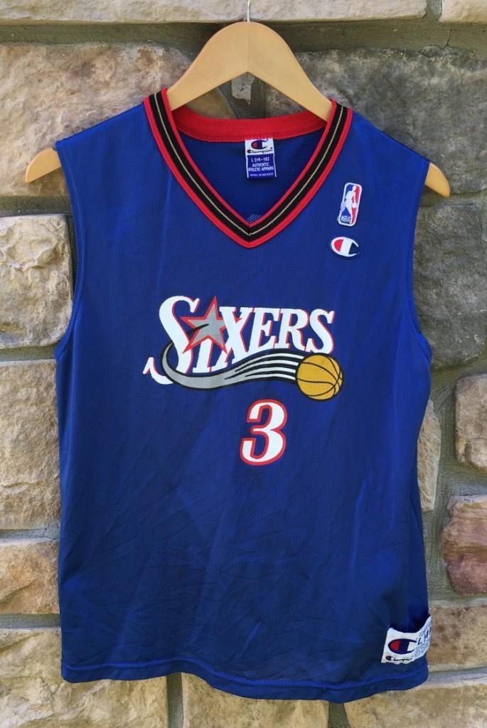 uk availability c6da4 927ed 2002 Allen Iverson Philadelphia Sixers Alternate Champion NBA Jersey Youth  Large