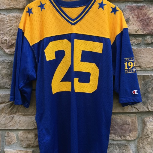 1987 Delaware Blue-Gold football jersey champion size large #25 blue