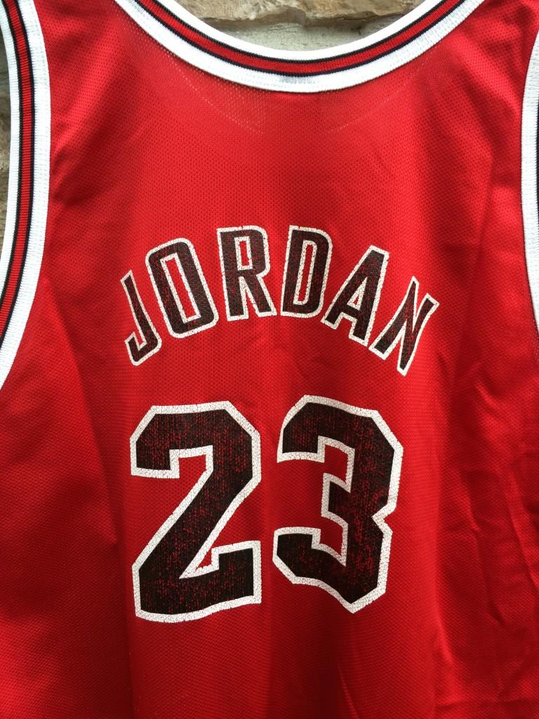 ea2c96d8de1 1997 Chicago Bulls Michael Jordan Champion NBA jersey size 48 XL 1985 Gold  logo rookie jersey