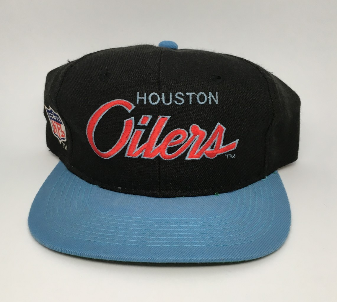 255f0aca 90's Houston Oilers Sports Specialities NFL Script Snapback Hat