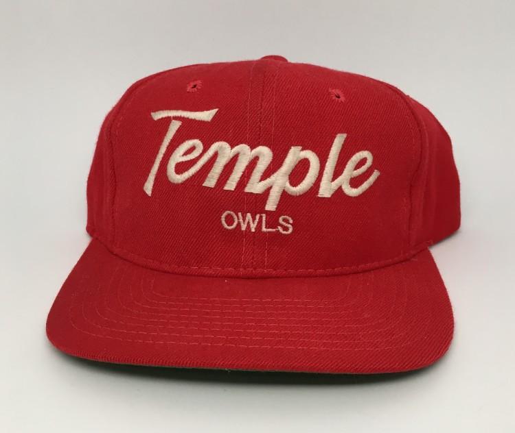 c3b75b470a577d 90's Temple Owls NCAA Sports Specialties Script Snapback Hat   Rare Vntg